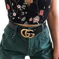 Tending GUCCI Belt Fashion Smooth Buckle Belt Leather Belt Have Gift Box Show Body