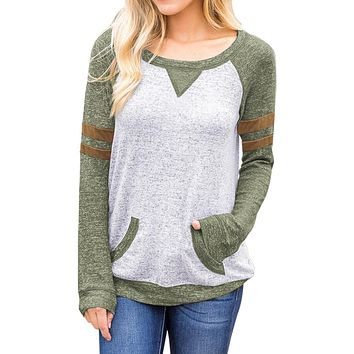 Contrast Stripes Green Sleeves Women's Blouse