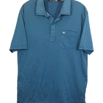 Travis Mathew Polo Green Blue Front Pocket 4 Button Golf Tennis Shirt Mens M - Preowned