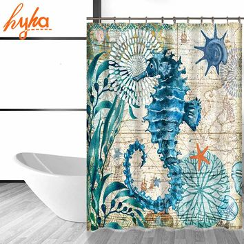 Hyha Marine Seahorse Turtle Polyester Waterproof Shower Curtain W/ 12pc Hooks | Mildew Resistant