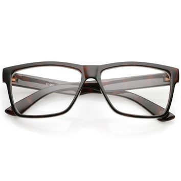 Classic Horn Rimmed Wide Arms Clear Lens Rectangle Eyeglasses 57mm