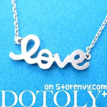 Love Cursive Hand Written Pendant Necklace in Silver | DOTOLY