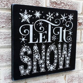 "Christmas Decoration, ""Let It Snow"" Word Art typography style, subway, snowflakes, Christmas signs"