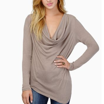 Plain V Neck Drape Long Sleeve T-Shirt