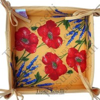Red Poppies and Lavender Cotton Tidy Bread Basket 12 x 12 on Yellow