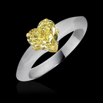 1.25 carat Heart cut yellow canary diamond Solitaire ring white gold