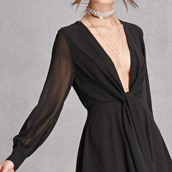 Pleated Chiffon Romper