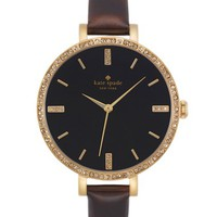 Women's kate spade new york 'metro' crystal bezel leather strap watch, 34mm - Tortoise/ Gold