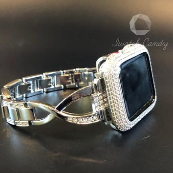Apple Watch Band 38mm 42mm Series 1,2,3 Womens Silver Rhinestone Crystal/Case Cover Bezel Iced Out Lab Diamonds Iwatch Bling Smart Watch