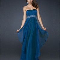 Strapless Empire Waist Pleated and Layered Beaded Chiffon Prom Dress PD1795