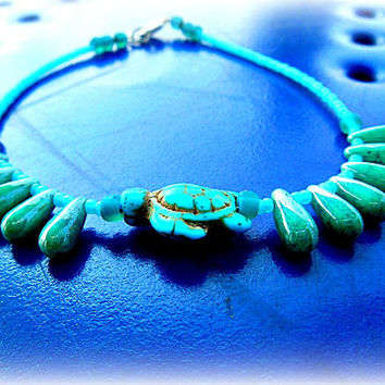 Turquoise Sea Turtle Anklet, Charm Anklet, Ankle Bracelet, Beaded Anklet, Ready to Ship, Direct Checkout