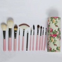 12 Pcs Wool Makeup Brushes Set with Holder - Pink