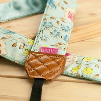 Camera Strap - London in Blue for DSLR and Mirrorless Cam with Brown Tag (Light Blue)