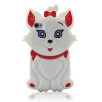Disney 3D Cartoon Chi Cat Silicone Cover Case for iPhone 4 4G 4S, White