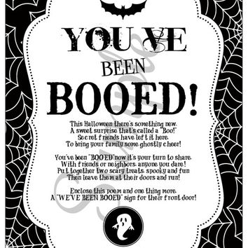 Halloween Printables - You've Been Booed - Easy to Print and Share! INSTANT DOWNLOAD! Halloween Ideas