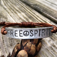 Silver FREE SPIRIT ID Leather Bracelet Hand by DESIGNbyANCE