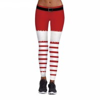 Santa Red Stripes Christmas Leggings