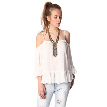 White cold shoulder top with frill trims