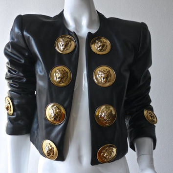 Vintage MOSCHINO Lion Head Doorknocker Leather Jacket