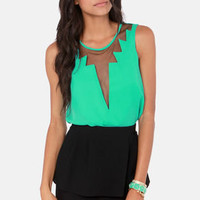 Cuts and Bolts Sea Green Top