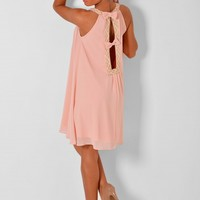 Adelina Pale Pink and Gold Swing Dress | Pink Boutique