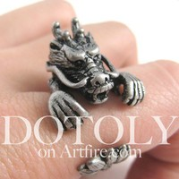Dotoly | 3D Dragon Animal Ring in Silver - Sizes 5 to 9 Available | Online Store Powered by Storenvy