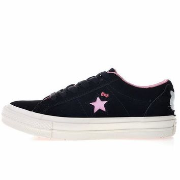 DCCK Hello Kitty x Converse One Star Black Suede Low Top Skate Shoes Black