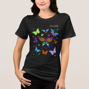 Colorful butterflies elegant customizable black T-Shirt