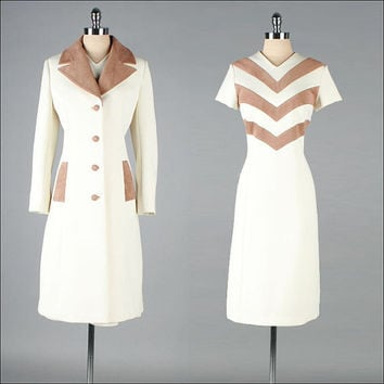 R E S E R V E D /// Vintage 1960s Dress and Jacket . 2 pc Set . Ivory . Ultra Suede Chevron . Lilli Ann . L XL . 2700