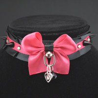 15.75 inch Black and Pink with Spikes and Gems - Pet Play and BDSM Pleated Ribbon Collar
