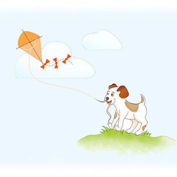 Boys Childrens Art Print Breezy Day Puppy Kite by wonderlaneart