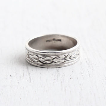 Vintage Sterling Silver Eternity Ring - Size 7 3/4 Cigar Wedding Band Milgrain Wheat Jewelry / Embossed Designs