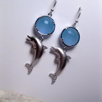 Blue Ocean Sea Dolphin Silver Earrings