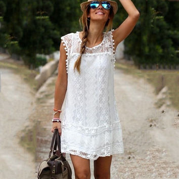 Summer Women Vestidos  Boho Embroidered Floral Bohemian Sexy Casual  White Lace Crochet Beach Wear Mini  Party Dresses