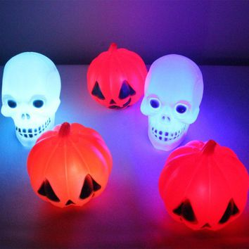 Halloween Party Pumpkin LED Light Plastic Skull Night Lamp Bars Decor Accessories Prop Halloween Party Decorations