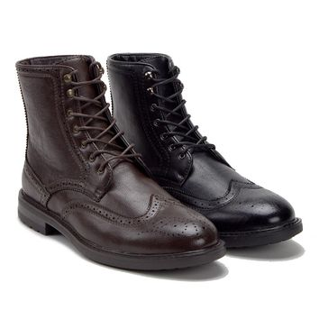 Men's E-842 Tall Lace Up Perforated Brogue Wing Tip Dress Boots