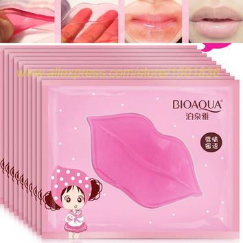 10Pc Super Lip Plumper Crystal Collagen Lip Mask Pads Moisture Essence Anti Ageing Wrinkle Patch Pad Gel Full Lips Enhancer