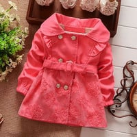New Fashion Children Girls Long Sleeve Splicing Lace Outwear Coat Jacket With Belt