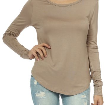 Teeze Me | Long Sleeve Scoop Neck Basic Top | Iced Coffee