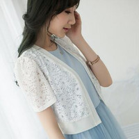 Summer womens shawl thin cardigan prevent bask shawl fashion hollow out plus size short sleeve lace knit cardigan thin coat