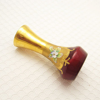 Small Vintage Red Bohemian Glass Vase Applied Flowers