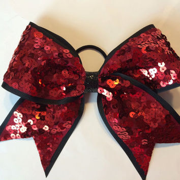 Union Red and Black Sequin Cheer Bow