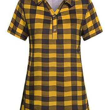 Cestyle Womens Casual Short Sleeve Collared Button Down Knit Plaid Shirt