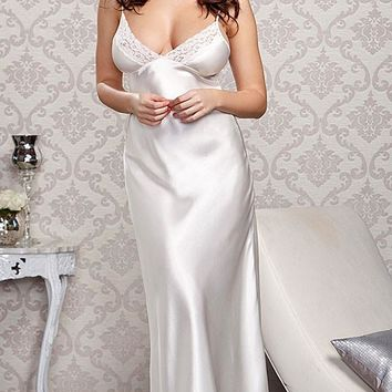 Nightgown - Bridal Lace-Trimmed w/Lace-Up Back (Robe available) (Small-3X)