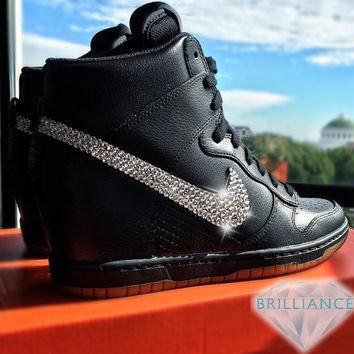 Swarovski Nike Shoes Bling Nike Dunk Sky Hi Essential Wedge Black Gum Bottom Customize