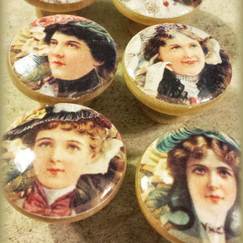 Knobs Drawer Pull Set, 6 Handmade Vintage Ladies Hats 1900, Old Fashion, Victorian, Dresser Knob Pulls, Victorian, We Make Customized Orders