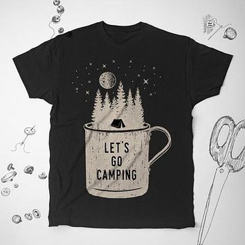 Camping Nature Outdoor Trees Adventure Camping Camper Fashion Tunic Shirt Top Blouse