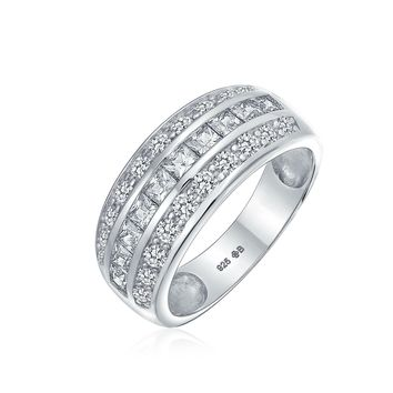 Channel Pink Princess Cut CZ Dome Wedding Band Ring Sterling Silver