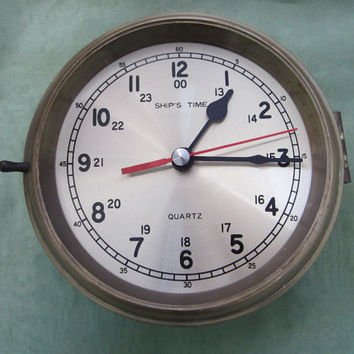 Ships Time Brass Porthole Quartz Nautical Vintage Clock