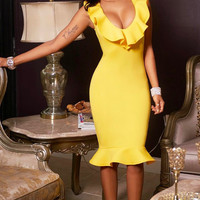 Ruffles V-neck Bodycon Candy Color Knee-length Party Dress